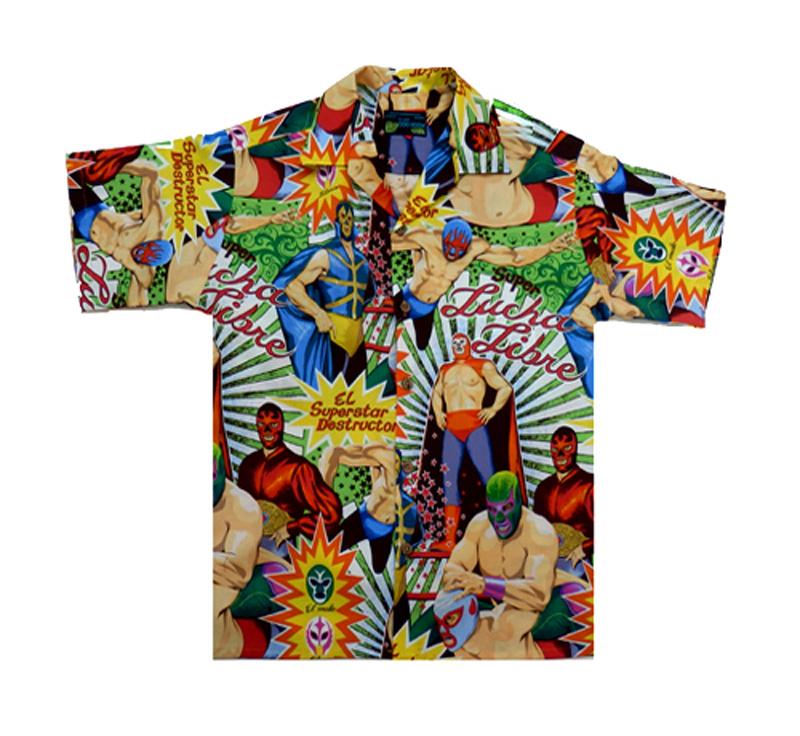 Lucha libre hawaiian shirts moon dog shirt co for The hawaiian shirt company